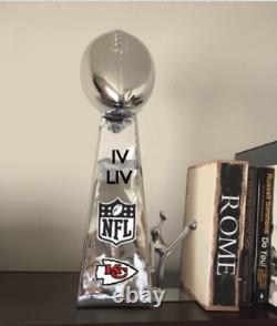 18 Lombardi Replica Trophy Super Bowl Champs Kansas City Chiefs Logo Roman #'s