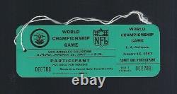 1967 SUPER BOWL I KANSAS CITY CHIEFS vs GREEN BAY PACKERS PARTICIPANT TICKET