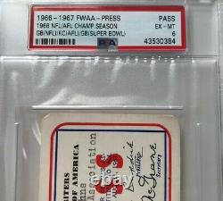 1967 SUPER BOWL I Pass Ticket Green Bay Packers Top K. C. Chiefs Bart Star MVP Mt
