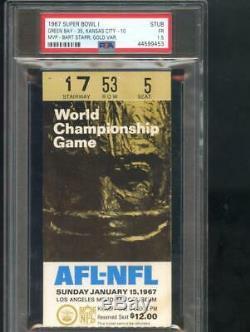 1967 Super Bowl 1 I One Ticket Stub Green Bay Packers Kansas City Chiefs PSA 1.5