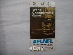 1967 Super Bowl I 1 Ticket Stub Packers vs KC Chiefs Very Rare White Variation