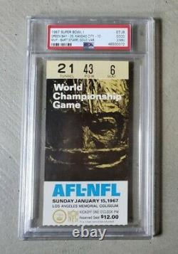 1967 Super Bowl I ticket stub PSA 2(MK) Green Bay Packers Kansas City Chiefs