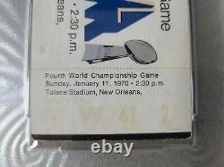 1970 Super Bowl IV rare black full unused ticket PSA Kansas City Chiefs Vikings