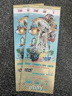 2-Super Bowl LIV 2020 Miami Ticket Stubs Chiefs 49ers Mahommes GOLD VERSION