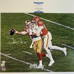 Autographed/Signed FRANK CLARK Super Bowl LIV Sack Chiefs 16x20 Photo BAS COA