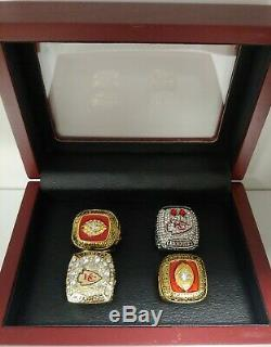 Kansas City Chiefs Championship 4 Ring Set WITH Wooden Box. Mahomes Dawson