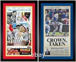 Kansas City Chiefs & Royals Championship Original Newspaper SET! Framed