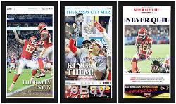 Kansas City Chiefs SUPER BOWL 54 Set of 3 Framed Original Newspapers in Blck