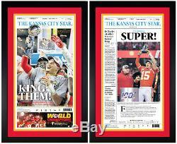 Kansas City Chiefs SUPER BOWL & AFC Champions Framed Original Newspaper SET