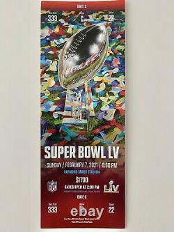 MINT TICKET STUB 2021 Super Bowl LV 55 Kansas City Chiefs / Tampa Bay Buccaneers
