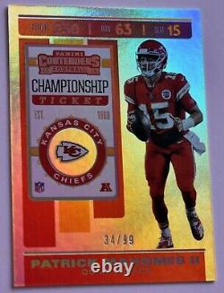 PATRICK MAHOMES II 2019 Contenders /99 Championship Ticket Chiefs Super Bowl LIV