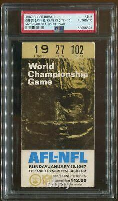 PSA Ticket Football 1967 Super Bowl I Green Bay Packers Kansas City Chiefs SB 1