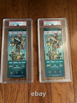 Pair 2020 Super Bowl 54 LIV Tickets PSA 8 NM-MT Chiefs Mahomes POP 21,1 HIGHER