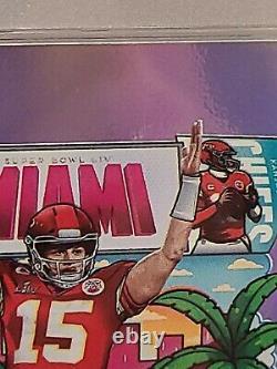 Patrick Mahomes 2020 Donruss Downtown Miami SuperBowl card PSA 8 Chiefs