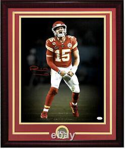 Patrick Mahomes signed 16x20 Super Bowl LIV photo framed Chiefs Coin auto JSA