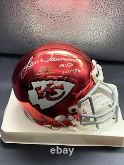 Rare! LEN DAWSON SIGNED CRHOME Super Bowl MINI HELMET KANSAS CITY CHIEFS JSA