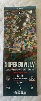 Super Bowl 55 LV Official NFL TICKET stub. Tampa Bucs vs. Kansas City Chiefs