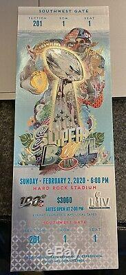 Super Bowl LIV 2020 Miami Ticket Stub Chiefs 49ers Mahommes