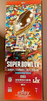 TICKET SUPER BOWL LV 55 Kansas City Chiefs Tampa Bay Buccaneers 2/7/2021 MINT