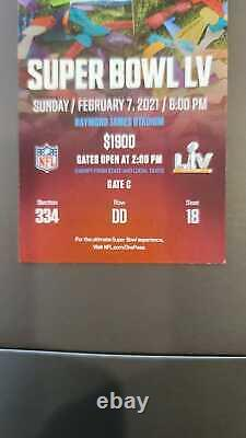 TWO TICKET STUBS SUPER BOWL LV 55 Kansas City Chiefs Tampa Bay Buccaneers 2/7/21