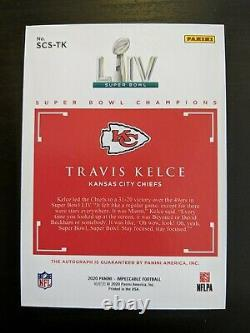 Travis Kelce 2020 Impeccable Super Bowl Champions Auto 4/35 On Card Chiefs