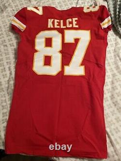Travis Kelce Game Used Worn Issued Kansas City Chiefs Superbowl Jersey Nfl 2021