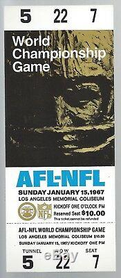 1967 NFL Super Bowl I Preuve Complète Football Tickets Chefs Vs Green Bay Packers