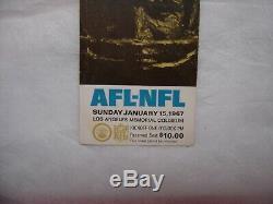 1967 Super Bowl I 1 Billet Packers Stub Vs Kc Chiefs Très Rare Variation Blanc