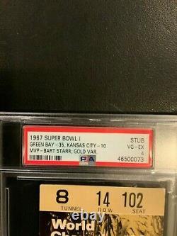 1967 Super Bowl I Ticket Stub Psa Vg-ex 4. Packers 35 Chiefs 10 Hof