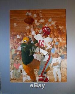 1967 Super Bowl Packers De Green Bay Kc Chiefs Orig Peinture À L'huile Daniel Schwartz