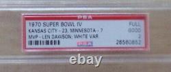 1970 Super Bowl IV Chiefs Vs Vikings Psa 2 Graded Full Ticket Rare