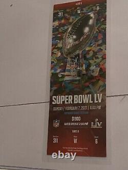1 Billet Super Bowl LV 55 Kansas City Chiefs Tampa Bay Buccaneers 2/7/21
