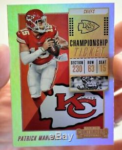 2018 Contenders Patrick Mahomes Championnat Billets # 51 Chiefs / 99 Super Bowl 54