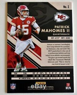 2019 Gold Standard Patrick Mahomes II Rose D'or / 25 Chefs Super Bowl Mvp Ssp