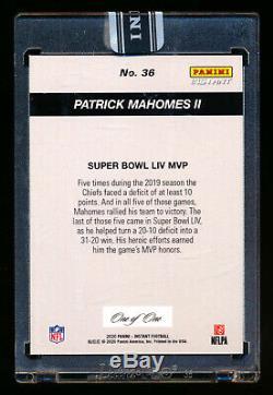2019 Panini Instantanée Patrick Mahomes II Noir Super Bowl LIV Chiefs Mvp # 1/1