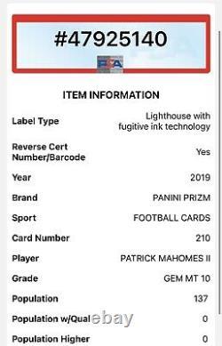 2019 Prizm Patrick Mahomes II #210 Psa 10 Gem Mint Chefs Super Bowl Mvp