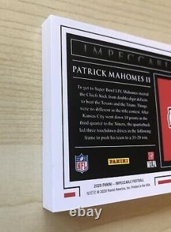 2020 Impeccable #d 18/20 Patrick Mahomes 1 Troy Oz Fine Silver Chiefs Super Bowl