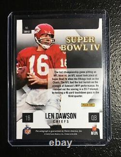 2021 Donruss Len Dawson Auto Silver Holo Refracteur Super Bowl Chefs Autographe