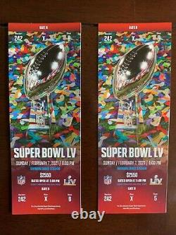 2 Stubs Super Bowl LV 55 Kansas City Chiefs Vs Tampa Bay Buccaneers