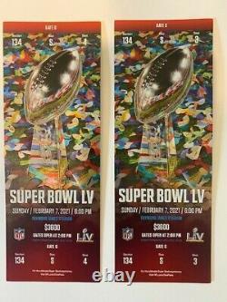 2 Stubs Super Bowl LV 55 Kansas City Chiefs Vs Tampa Bay Buccaneers, Mint