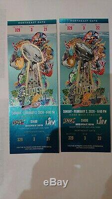 2 Super Bowl LIV Ticket Stubs + Passes Hospitality + Lanières Chiefs 49ers 2020