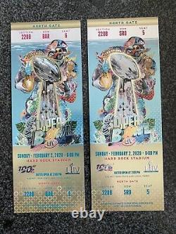 2-super Bowl LIV 2020 Miami Ticket Stubs Chefs 49ers Mahommes Gold Version