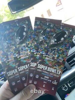4 Billets Super Bowl LV 55 Kansas City Chiefs Tampa Bay Buccaneers 2/7/2021 Mint