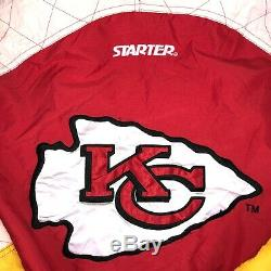90 Vintage Starter NFL Kansas City Chiefs Super Bowl Champions Jacket XL Puffer