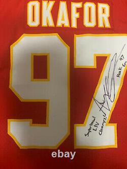 Alex Okafor Jeu Publié / Porté Chiefs Jersey 2019 Autographié Super Bowl