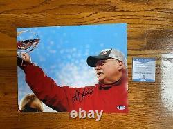 Andy Reid Signé Kansas City Chiefs Super Bowl 11x14 Photo Autograph Bas Coa