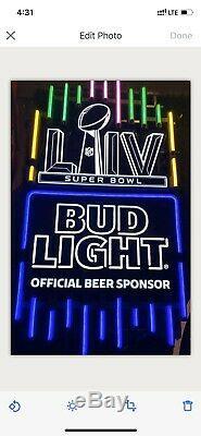 Authentique Bud Light NFL Super Bowl LIV Neon Sign Chiefs Vs Rare (led)