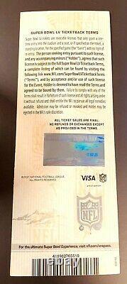 Billet Super Bowl LV 55 Kansas City Chiefs Tampa Bay Buccaneers 2/7/2021 Mint