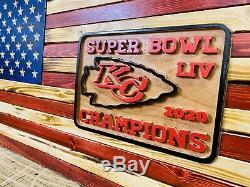 Chefs De Kansas City Drapeau Américain Vendu Bois Super Bowl Champions 2020