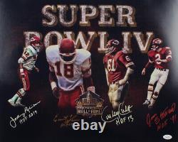 Chefs Signés Super Bowl IV Hall Of Fame 16x20 Jan Stenerud Culp Thomas Robinson